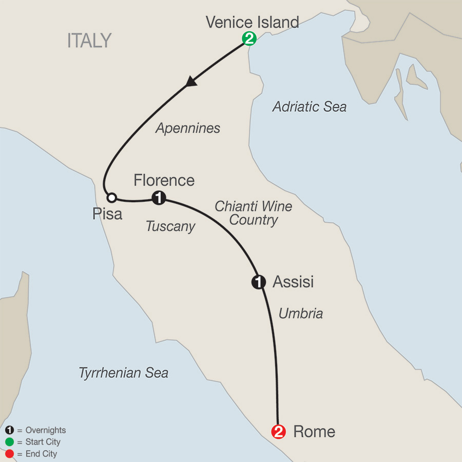 Itinerary map of Bella Italia Escape 2019 from Venice to Rome