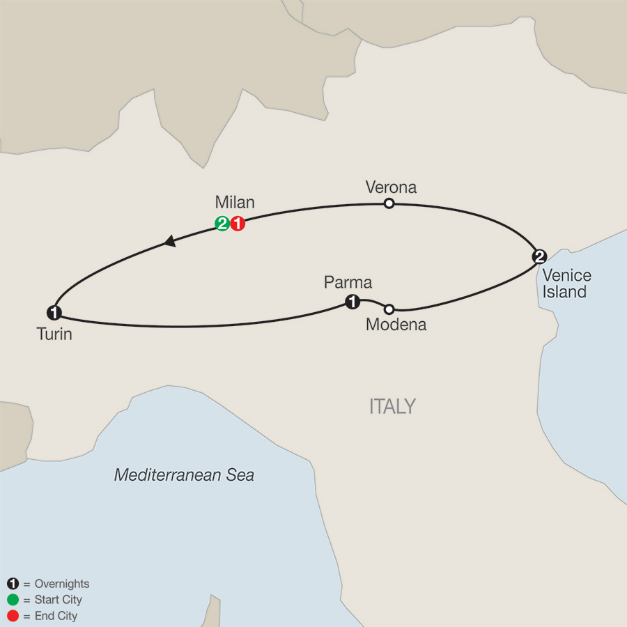 Itinerary map of Northern Italy Escape 2019 from Milan to Milan