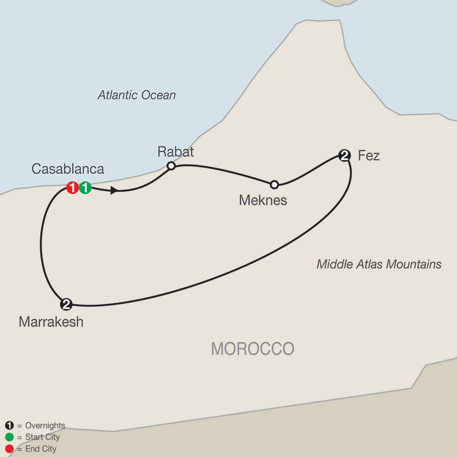 Itinerary map of Moroccan Escape 2019 from Casablanca to Casablanca