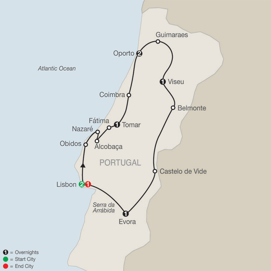 Itinerary map of Portuguese Escape 2019 Lisbon to Lisbon