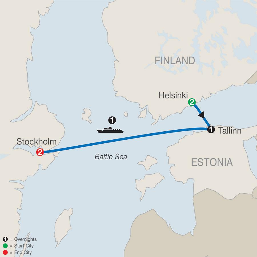 Itinerary map of Helsinki, Tallinn & Stockholm Escape 2019 from Helsinki to Stockholm