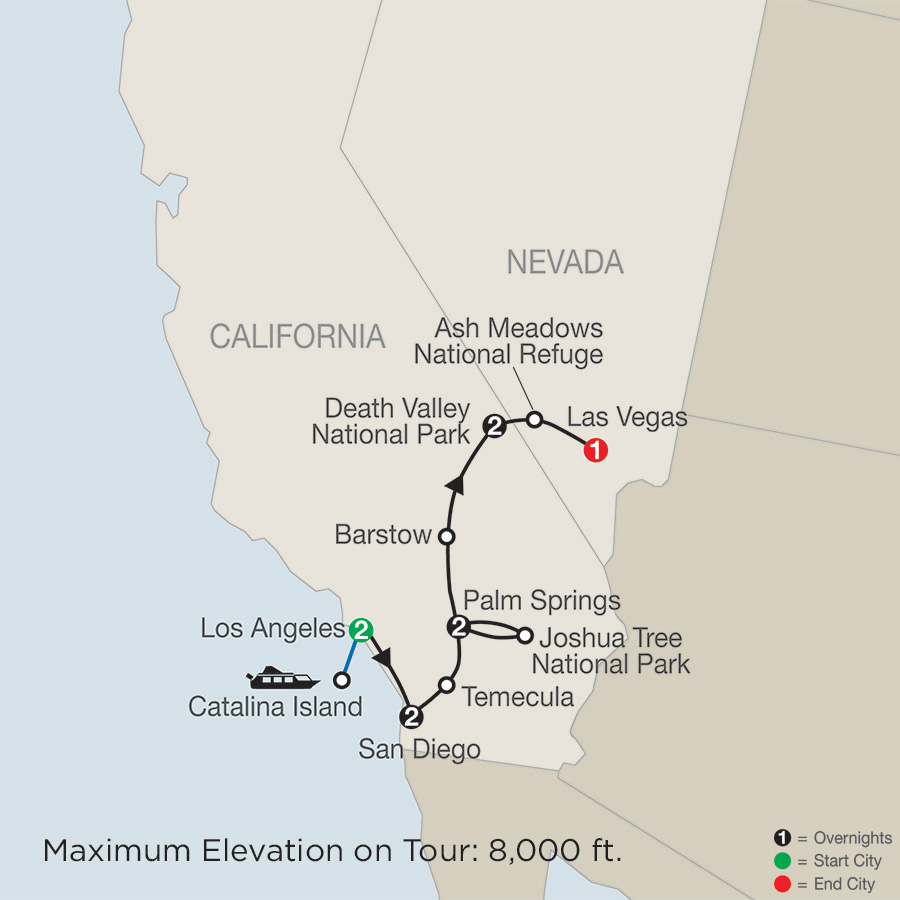 Itinerary map of Southern California with Death Valley & Joshua Tree National Parks 2019 from Los Angeles to Las Vegas