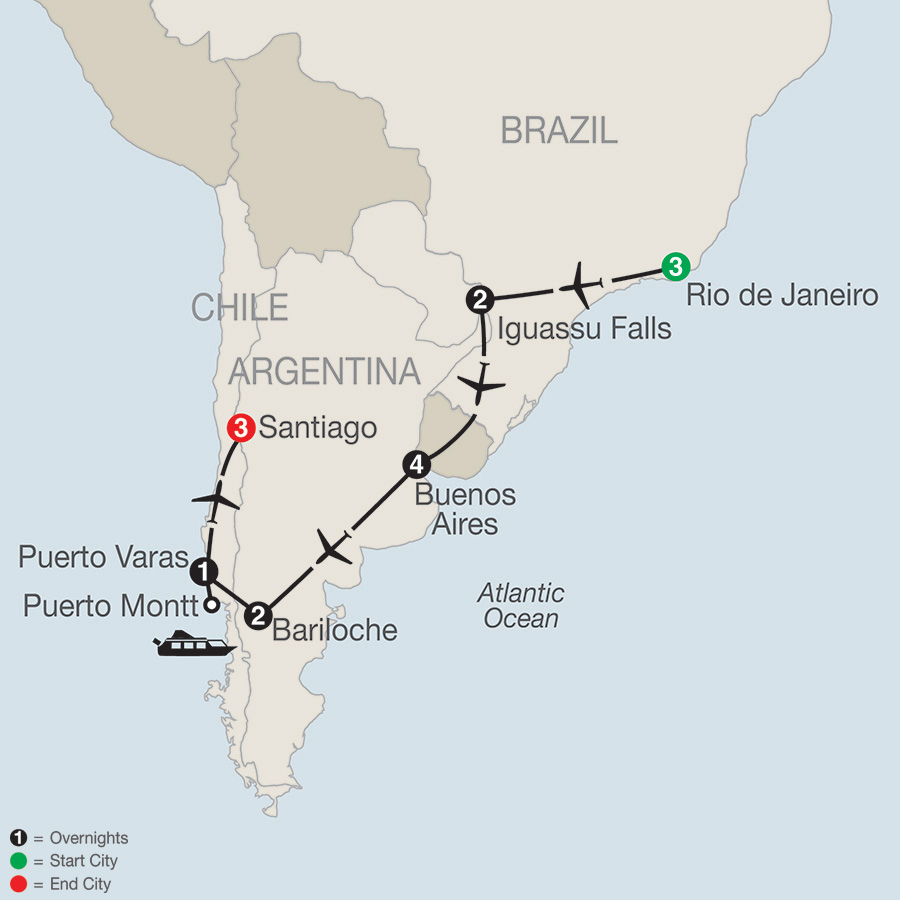 Itinerary map of South American Odyssey 2019 from Rio de Janeiro to Santiago