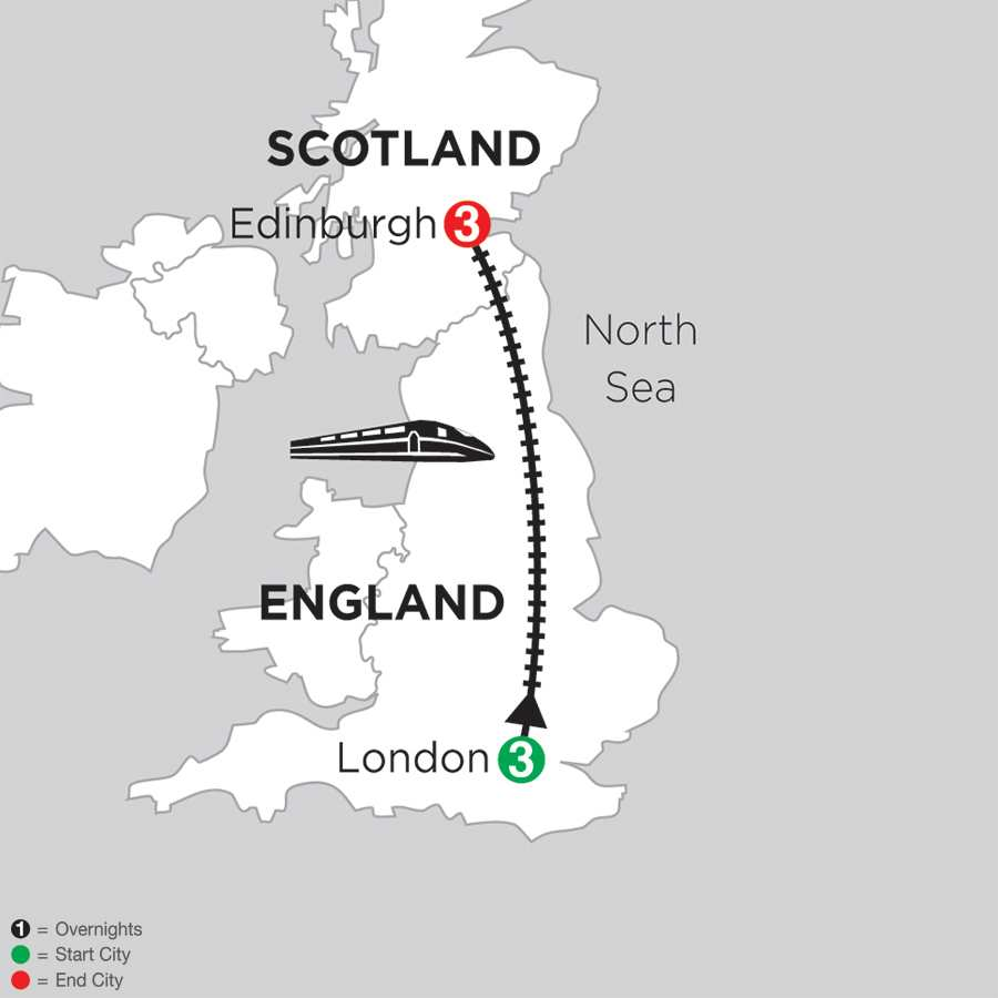 Itinerary map of London & Edinburgh>