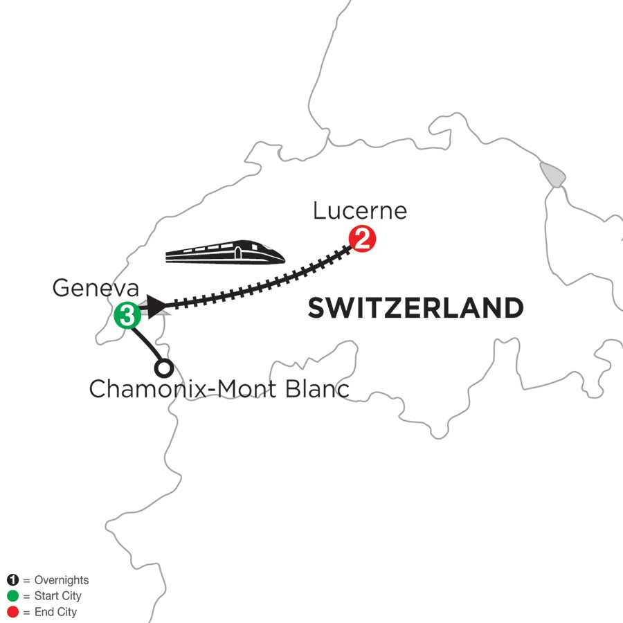 Itinerary map of GENEVA WITH MONT BLANC & LUCERNE