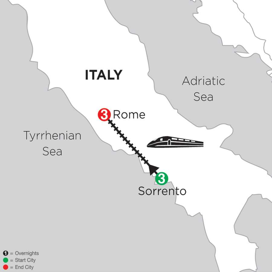 Itinerary map of Sorrento & Rome>