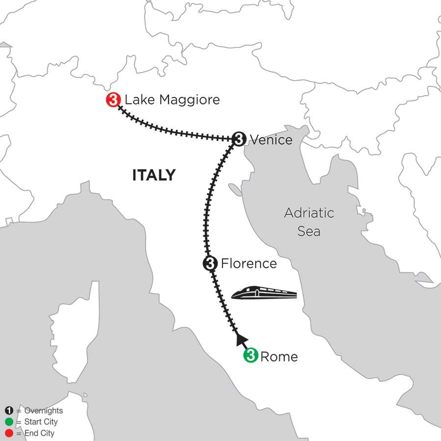 Itinerary map of Rome, Florence, Venice & Lake Maggiore