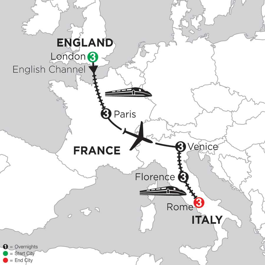 Itinerary map of London, Paris, Venice, Florence & Rome