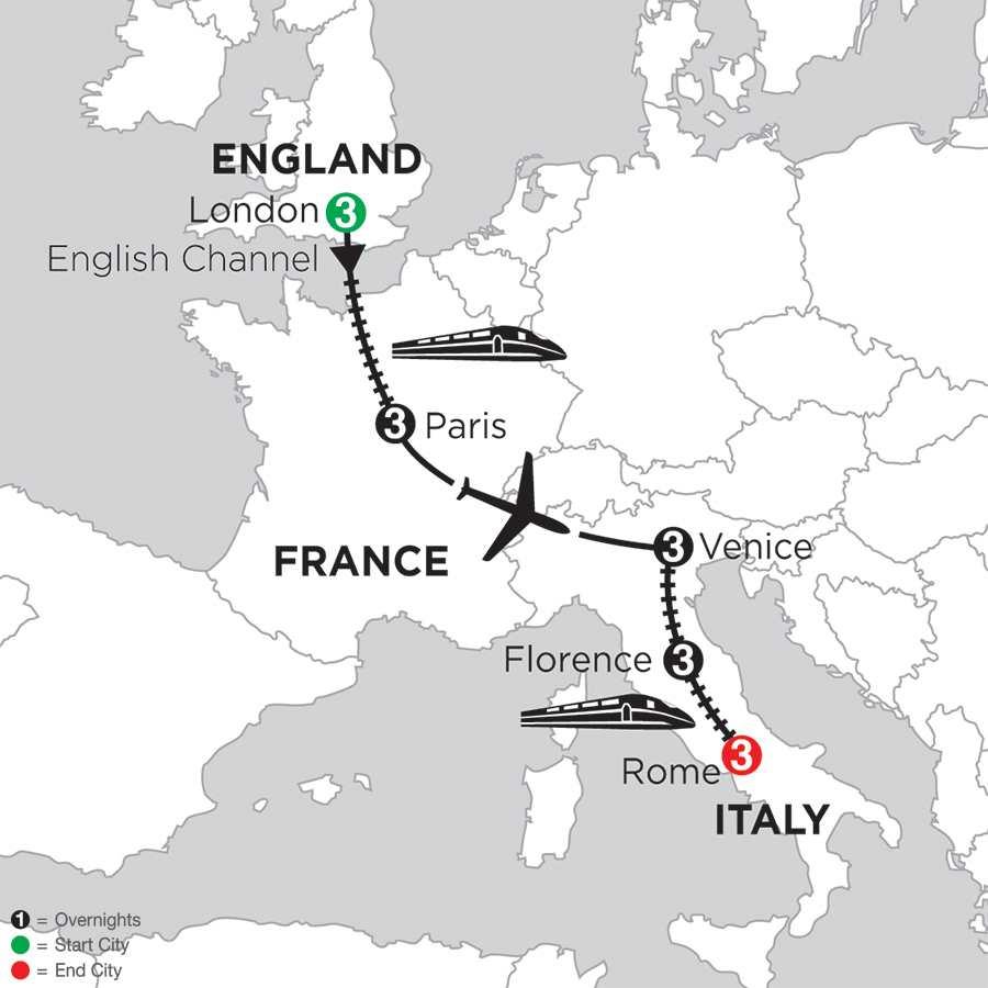 Itinerary map of London, Paris, Venice, Florence & Rome