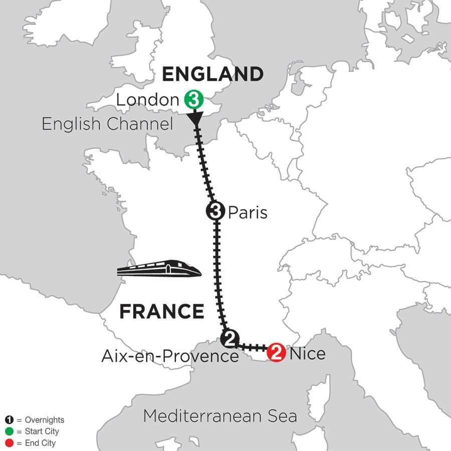 Itinerary map of LONDON, PARIS, AIX-EN-PROVENCE & NICE