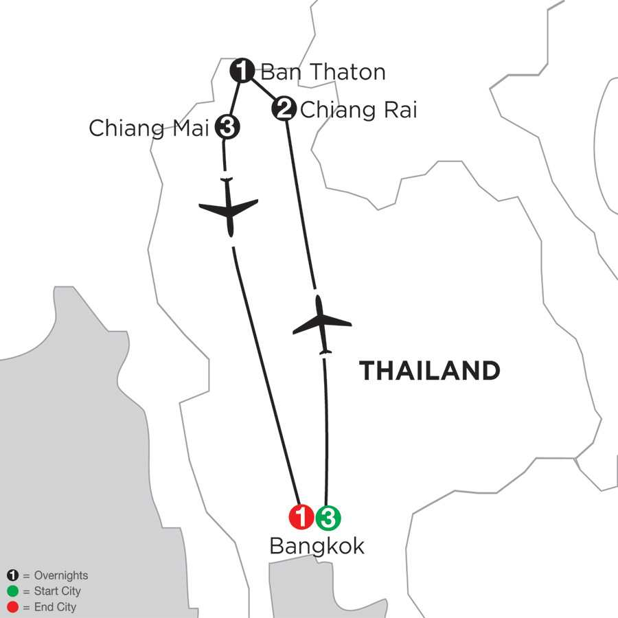 Itinerary map of Best Of Thailand>