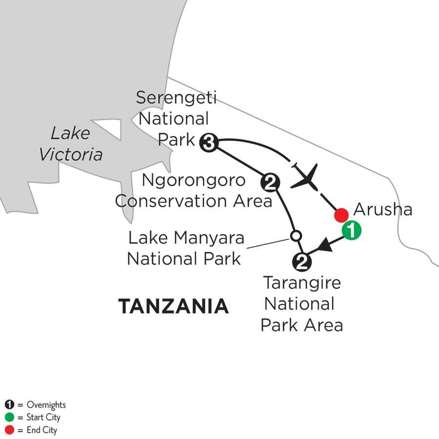 Itinerary map of Tanzania Private Safari>