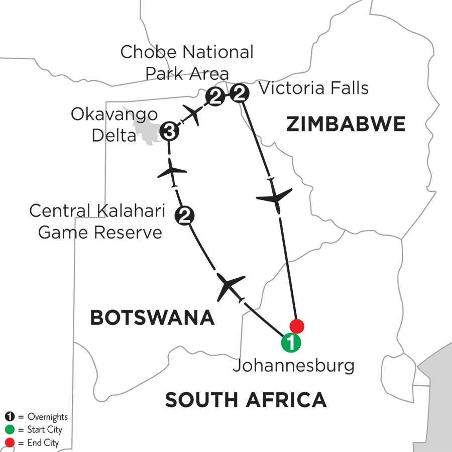 Itinerary map of WILDS OF BOTSWANA & VICTORIA FALLS