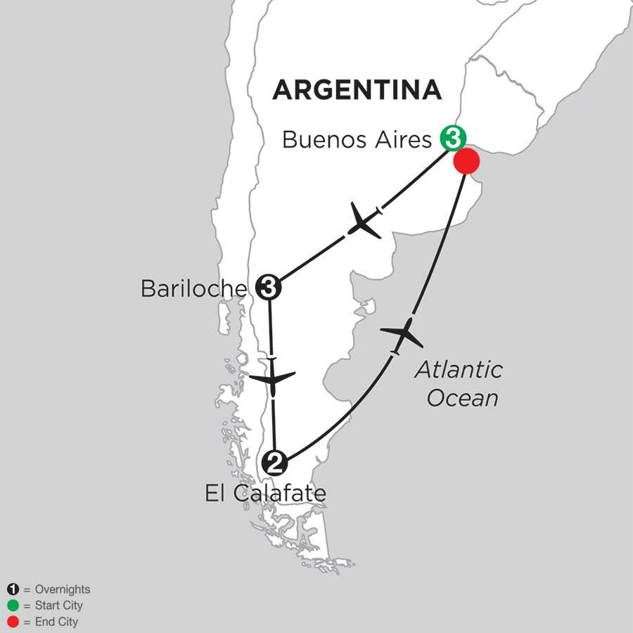 Itinerary map of Argentina Highlights