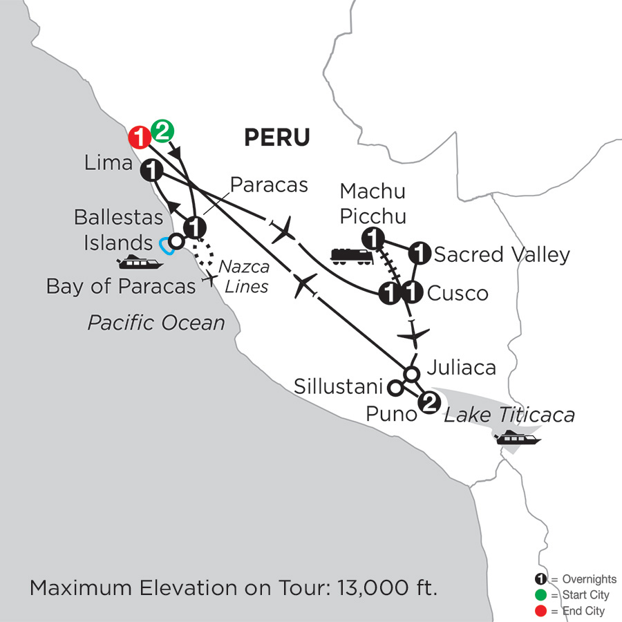 Itinerary map of Andean Explorer