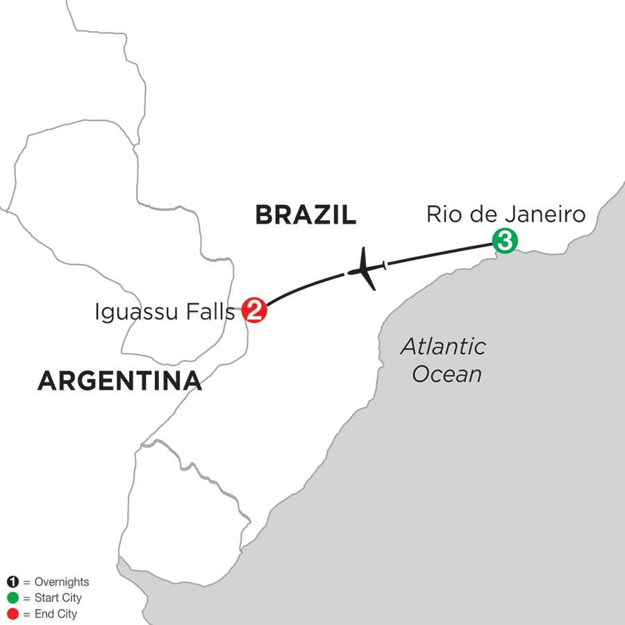 Itinerary map of BRAZIL HIGHLIGHTS