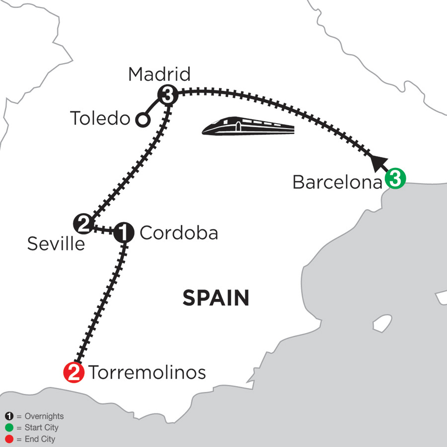 Itinerary map of 3 Nights Barcelona, 3 Nights Madrid with Toledo, 2 Nights Seville, 1 Night Cordoba & 2 Nights Torremolinos