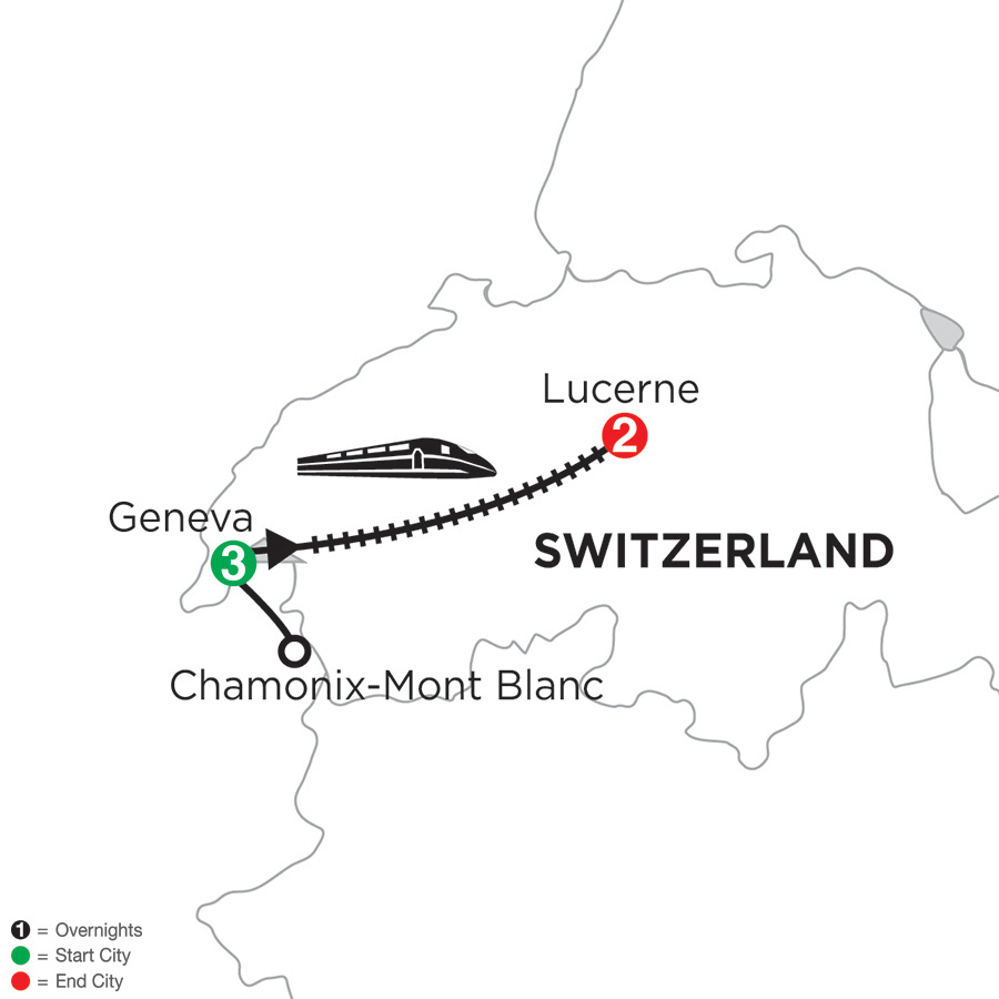 Itinerary map of 3 Nights Geneva with Mont Blanc & 2 Nights Lucerne 2018 from Geneva to Lucerne