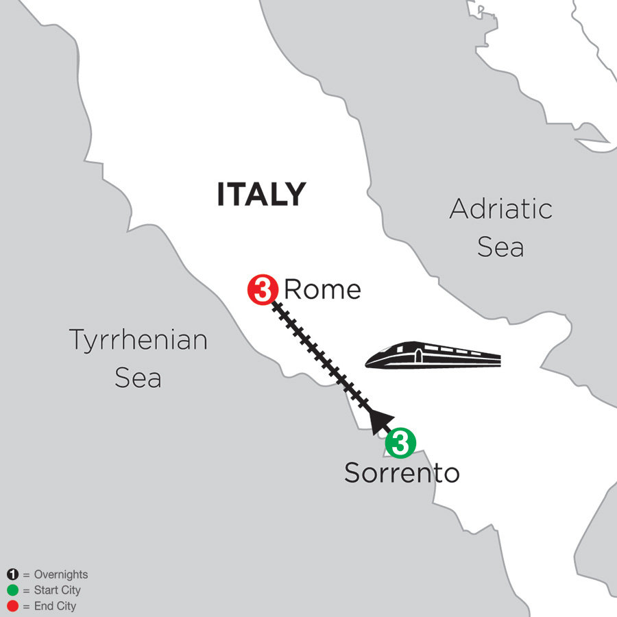 Itinerary map of 3 Nights Sorrento & 3 Nights Rome 2018 from Sorrento to Rome