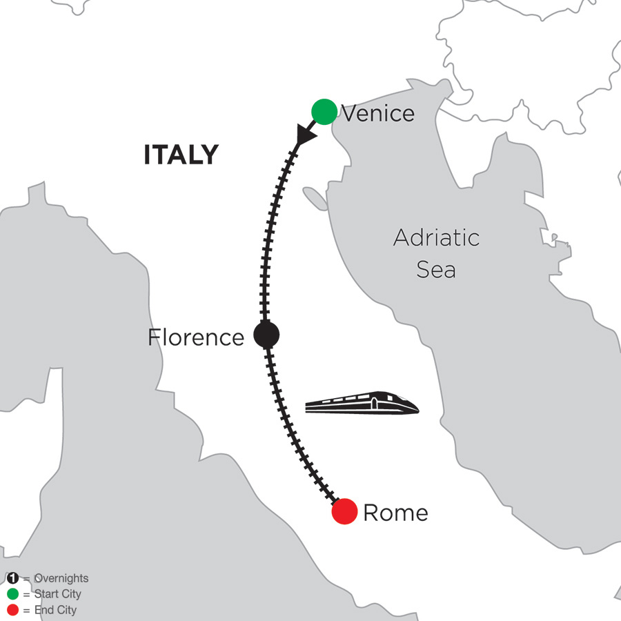Itinerary map of 4 Nights Venice, 5 Nights Florence & 3 Nights Rome