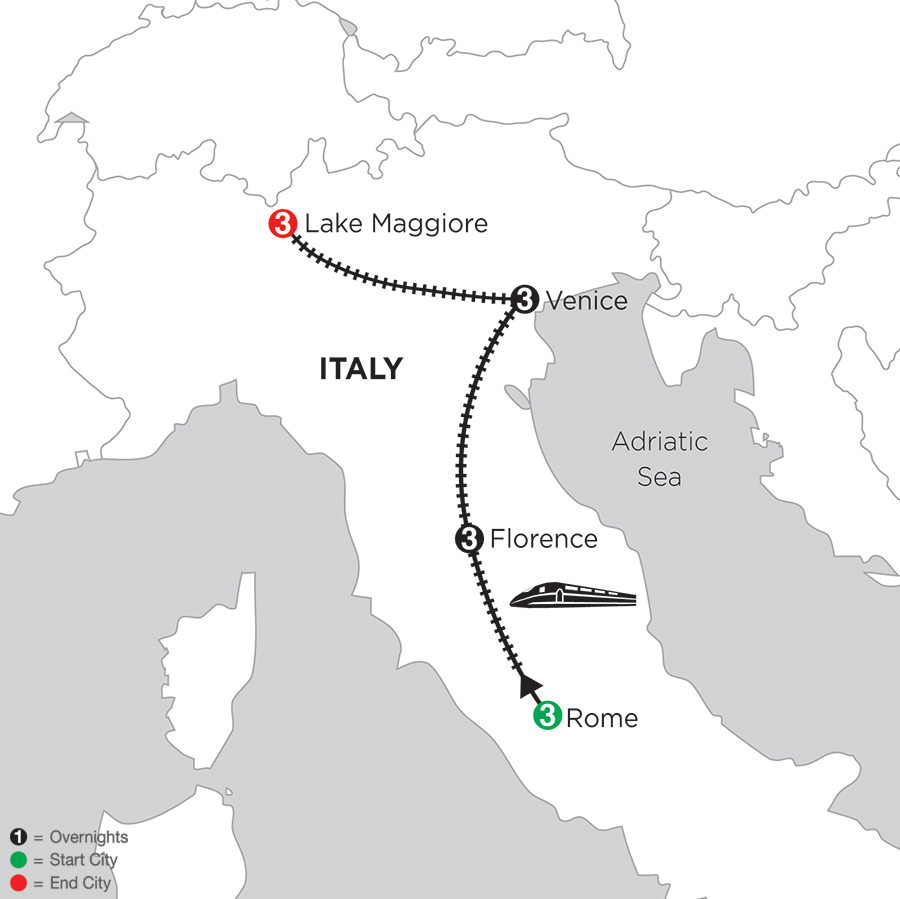 Itinerary map of 3 Nights Rome, 3 Nights Florence, 3 Nights Venice & 3 Nights Lake Maggiore 2018 from Rome to Lake Maggiore