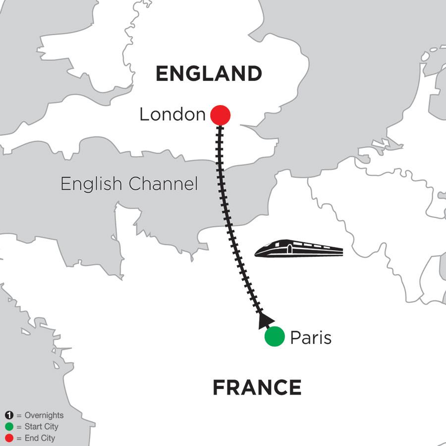 Itinerary map of 4 Nights Paris & 2 Nights London