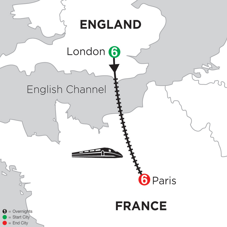 Itinerary map of 6 Nights London & 6 Nights Paris 2018 from London to Paris