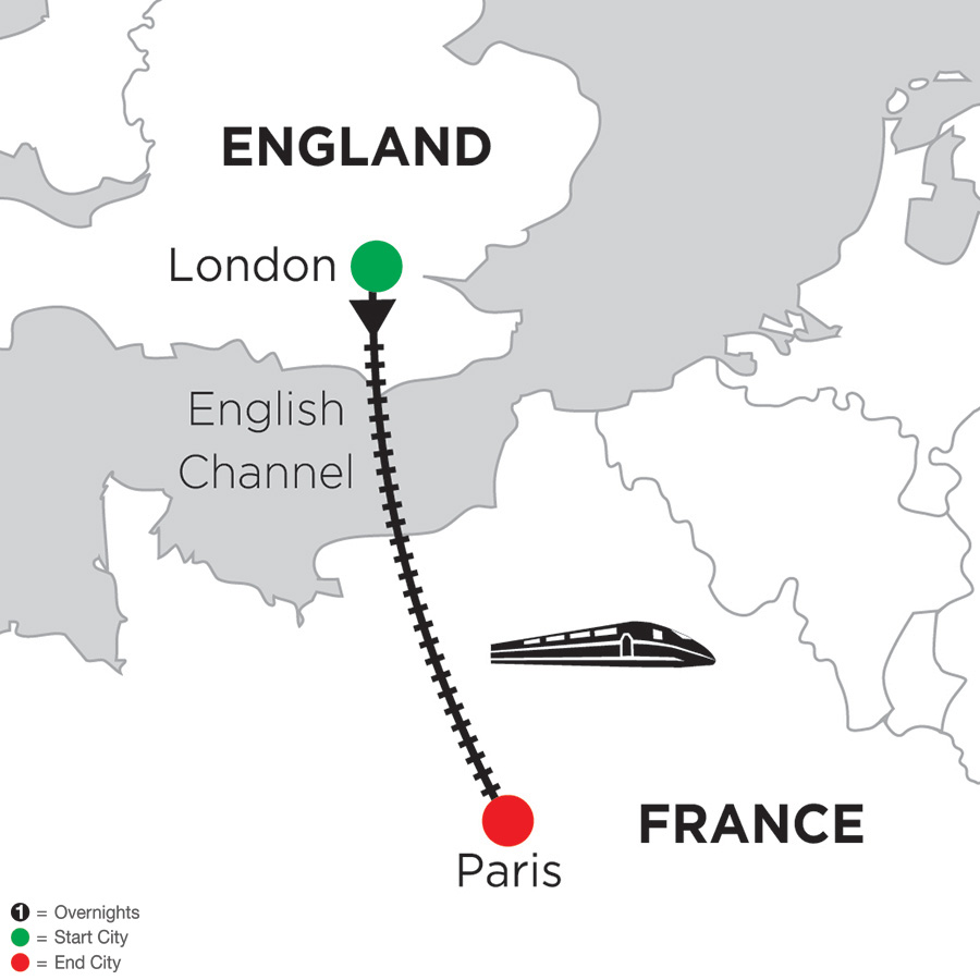 Itinerary map of 3 Nights London & 3 Nights Paris 2018 from London to Paris