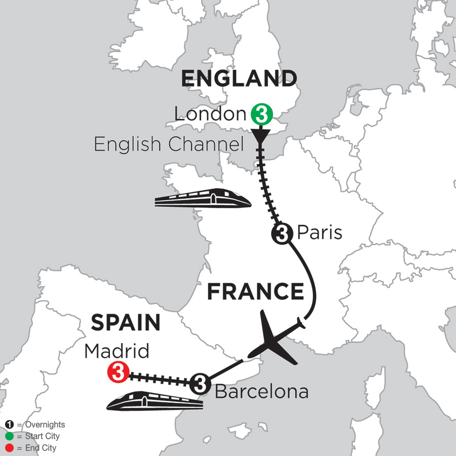 Itinerary map of 3 Nights London, 3 Nights Paris, 3 Nights Barcelona & 3 Nights Madrid