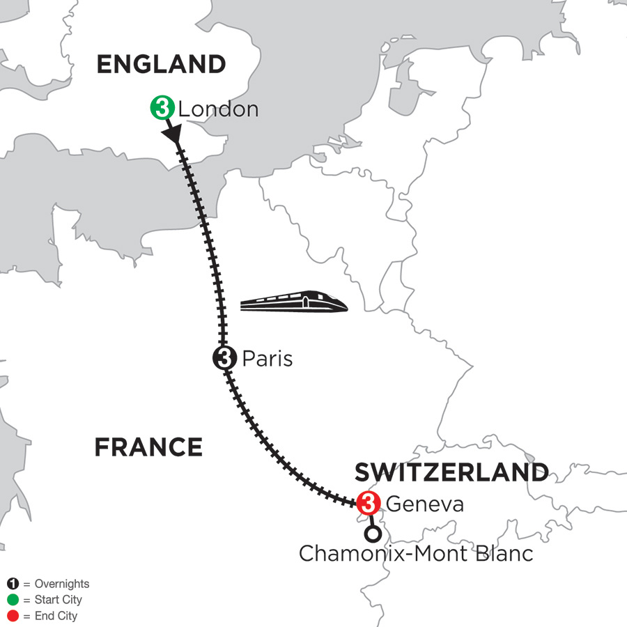 Itinerary map of 3 Nights London, 3 Nights Paris & 3 Nights Geneva with Mont Blanc