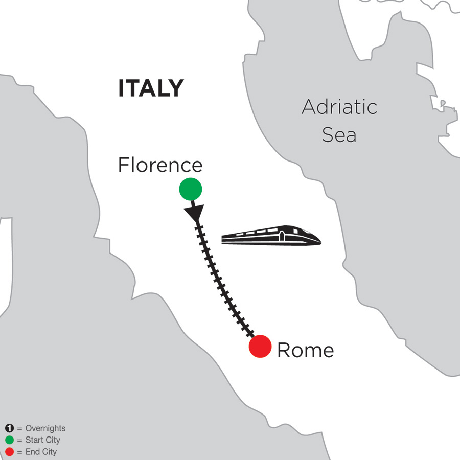 Itinerary map of 2 Nights Florence & 4 Nights Rome