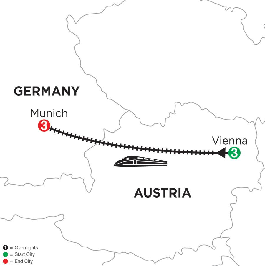Itinerary map of 3 Nights Vienna & 3 Nights Munich