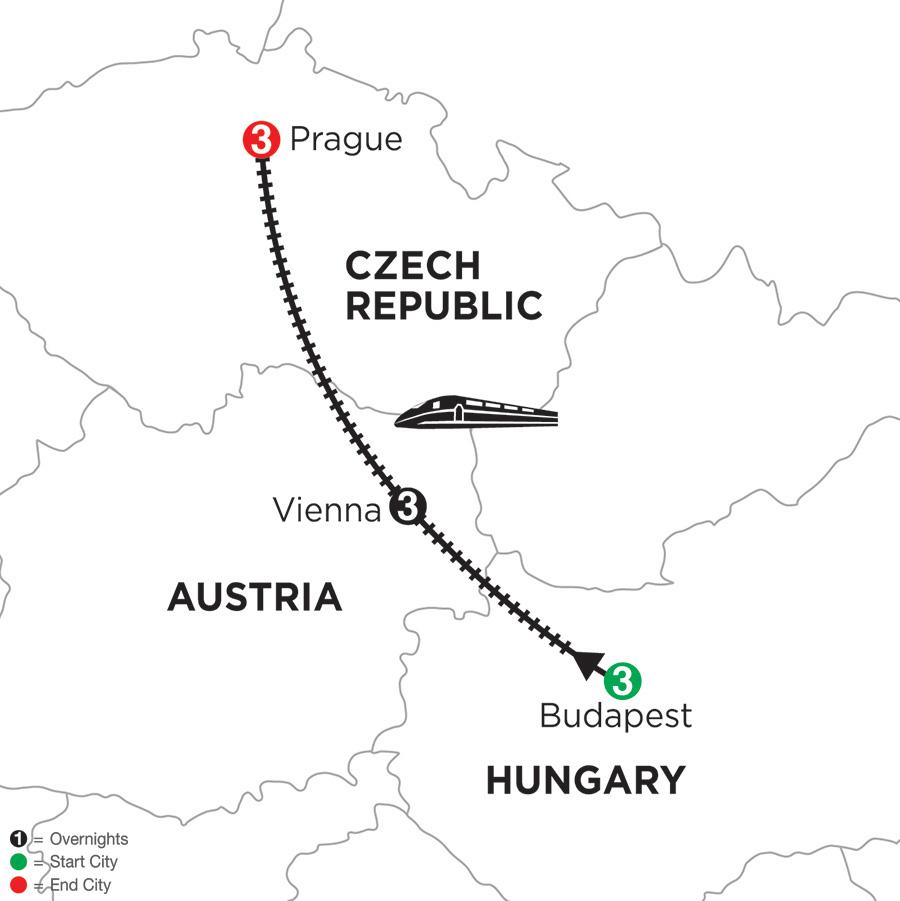 Itinerary map of 3 Nights Budapest, 3 Nights Vienna & 3 Nights Prague