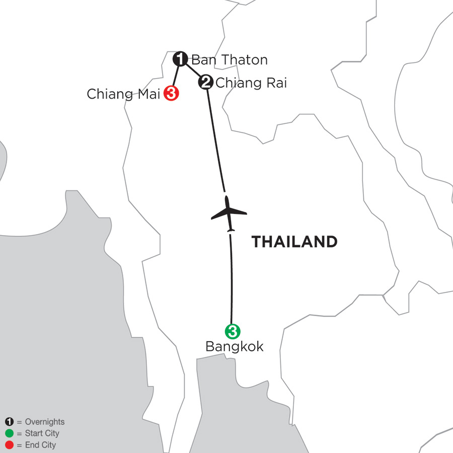 Itinerary map of Best of Thailand 2018 from Bangkok to Chiang Mai