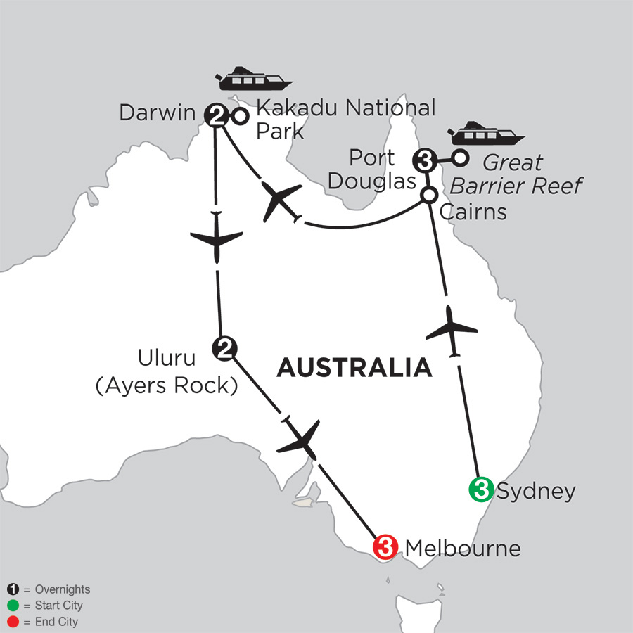 Itinerary map of Wonders of Australia 2018 from Sydney to Melbourne