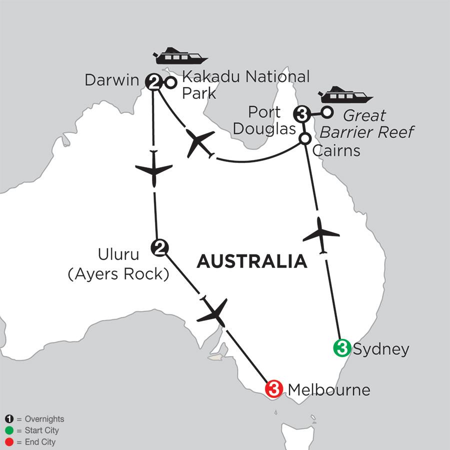 Itinerary map of WONDERS OF AUSTRALIA