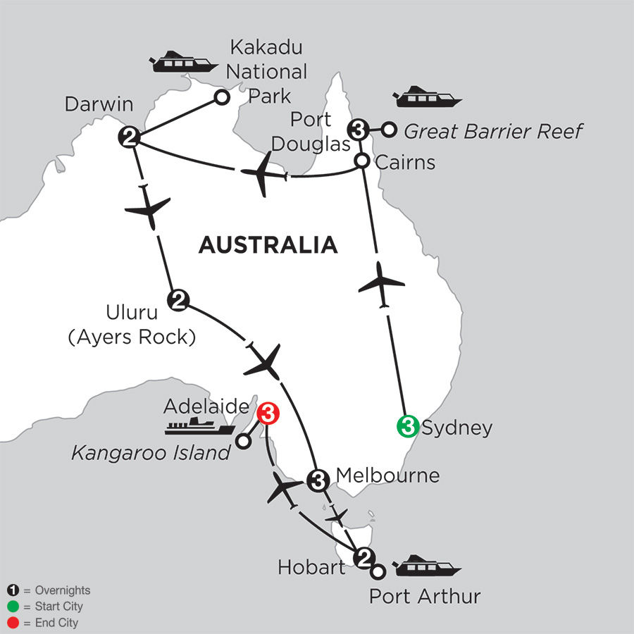 Itinerary map of Wonders of Australia with Hobart & Adelaide 2018 from Sydney to Adelaide