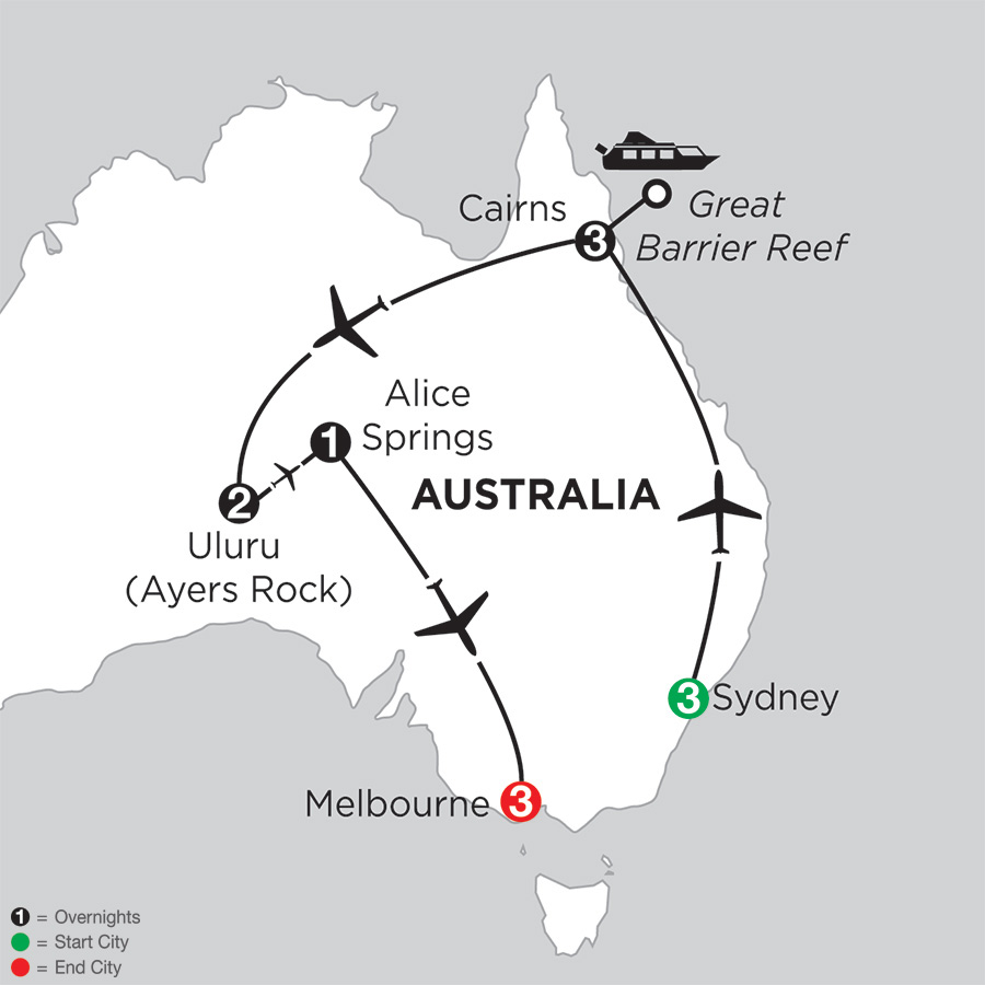 Itinerary map of Best of Australia 2018 from Sydney to Melbourne