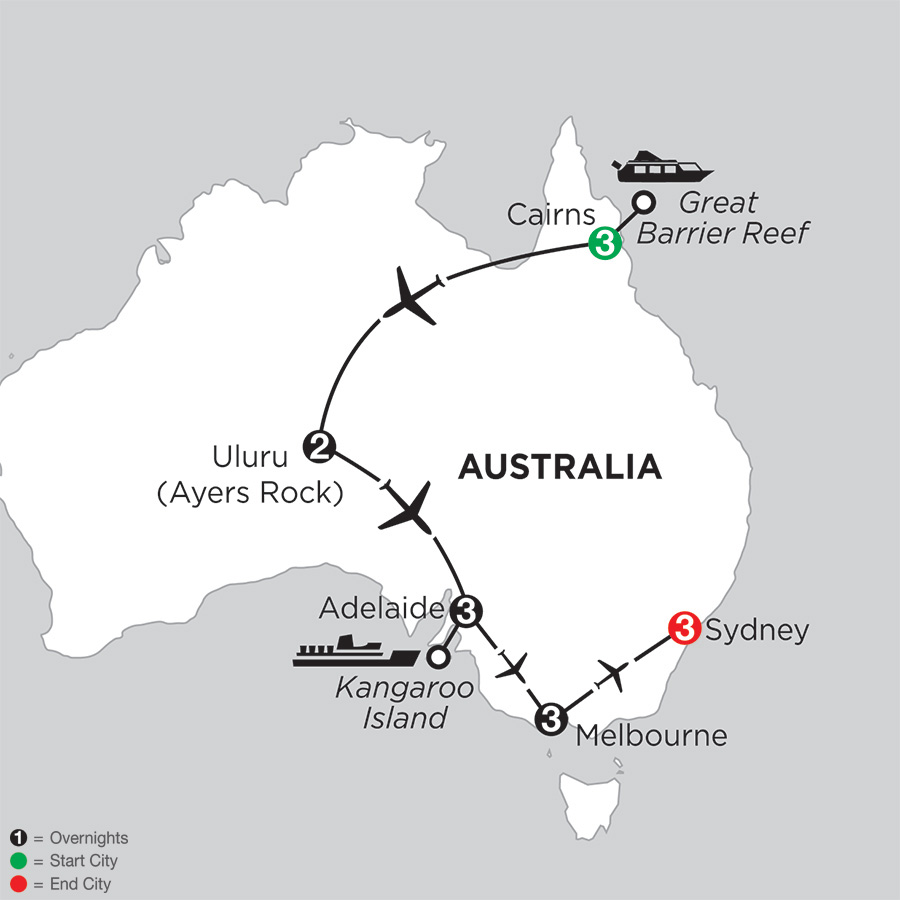 Itinerary map of Aussie Adventure 2018 from Cairns to Sydney