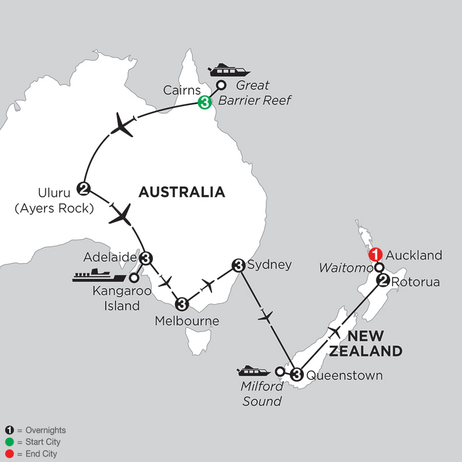 Itinerary map of Aussie Adventure with Queenstown & Rotorua 2018 from Cairns to Auckland