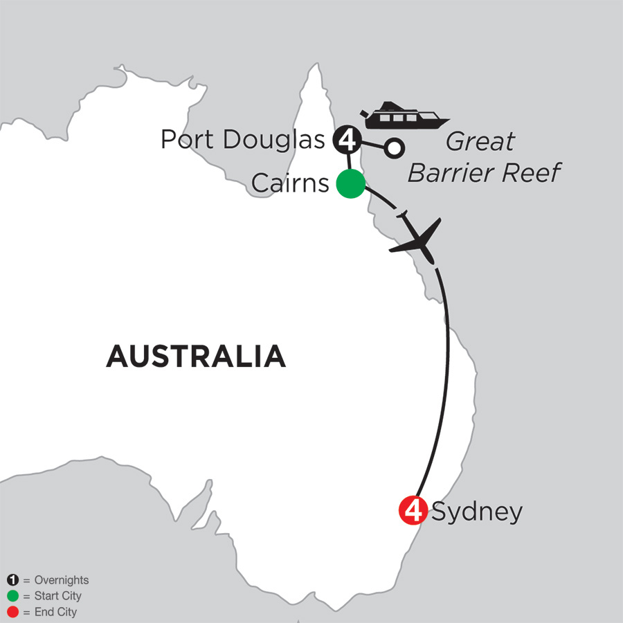 Itinerary map of Great Barrier Reef & Sydney 2018 from Port Douglas to Sydney