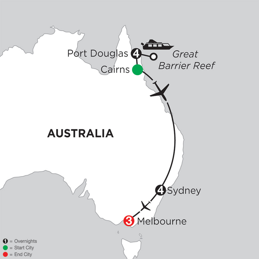 Itinerary map of Great Barrier Reef & Sydney with Melbourne 2018 from Port Douglas to Melbourne