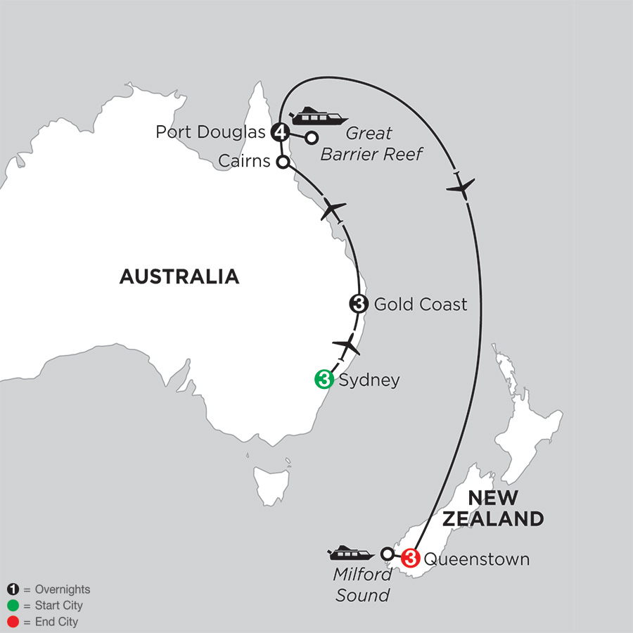 Itinerary map of Sun & Fun Down Under with Queenstown 2018 from Sydney to Queenstown