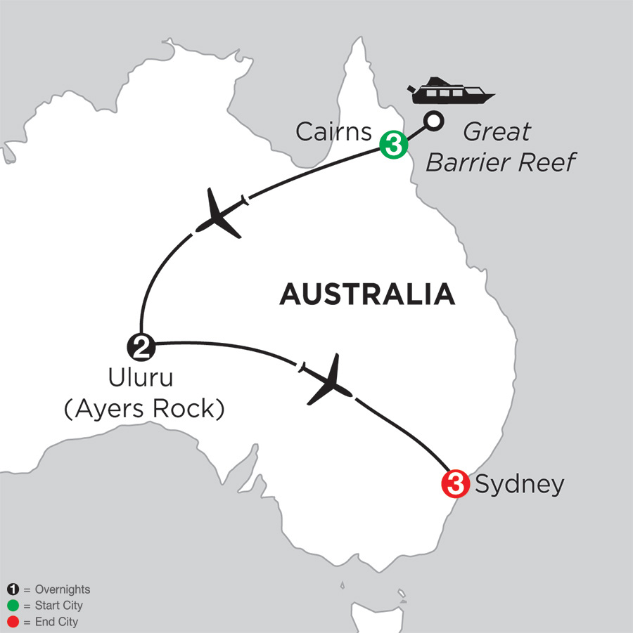 Itinerary map of Journey Down Under 2018 from Cairns to Sydney