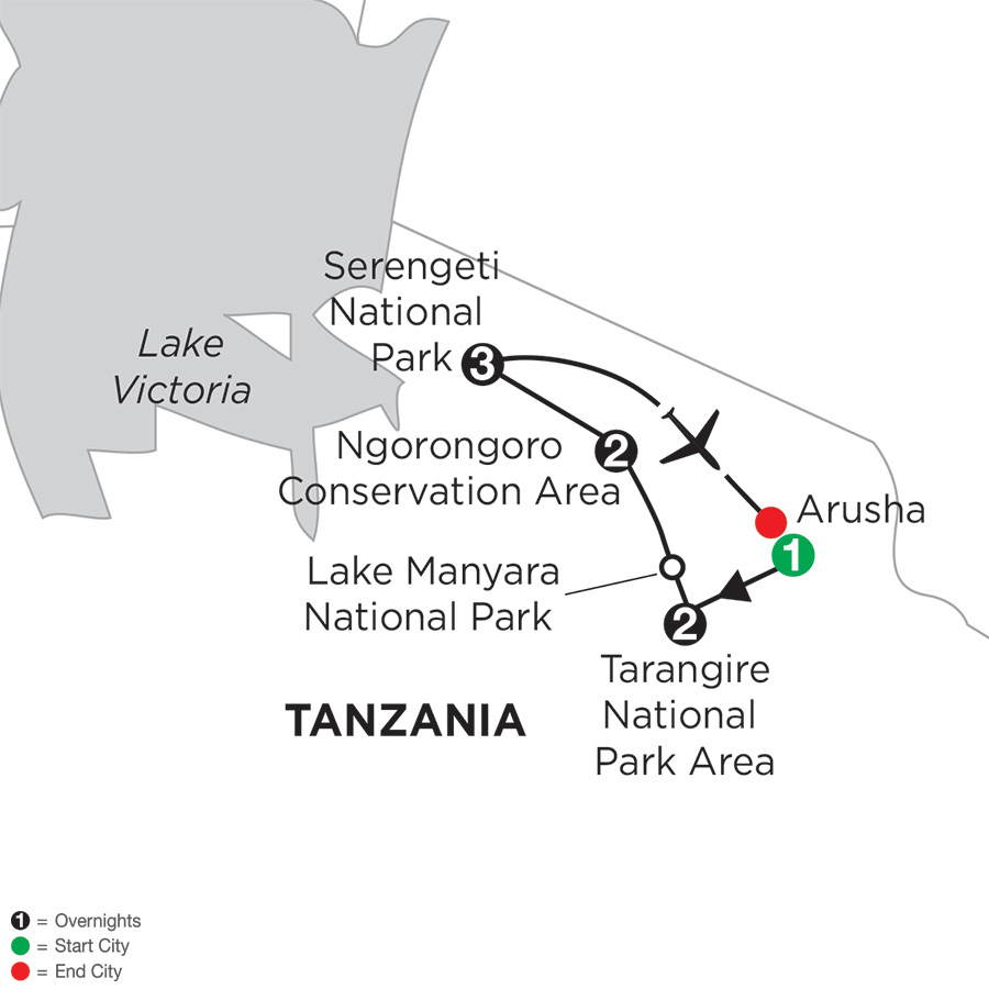 Itinerary map of Tanzania Private Safari>