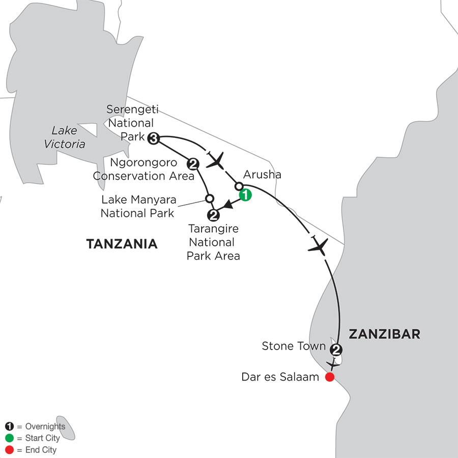Itinerary map of Tanzania Private Safari
