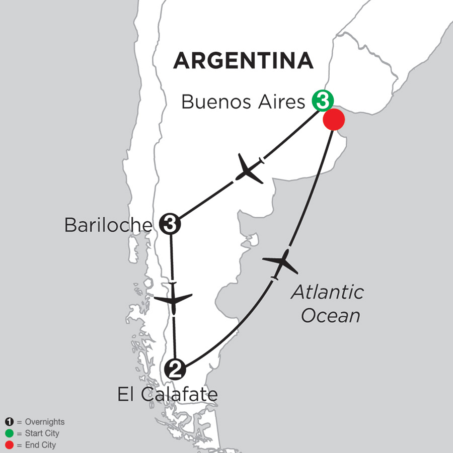 Itinerary map of Argentina Highlights 2018 from Buenos Aires to Buenos Aires