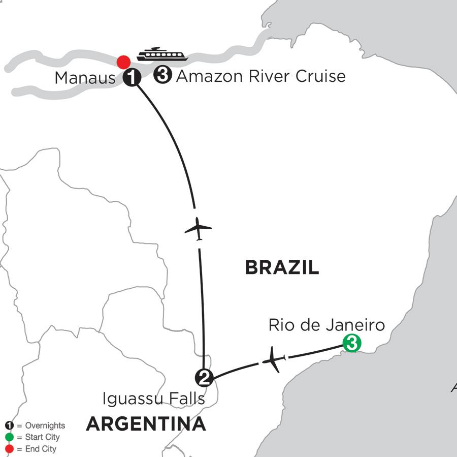 Itinerary map of Amazonia Voyage With Rio & Iguassu