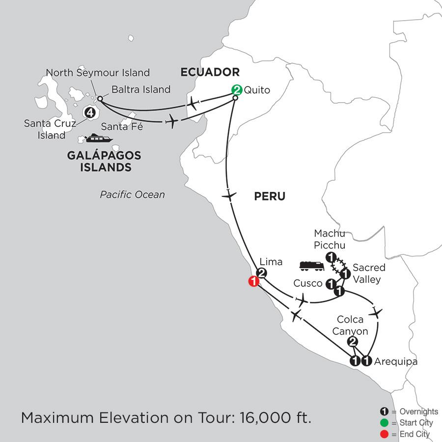 Itinerary map of Galapagos Highlights & Peru With Arequipa & Colca Canyon