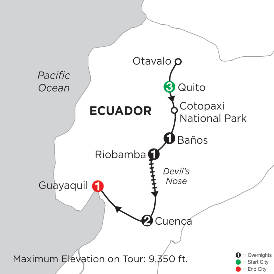 Itinerary map of Ecuador Discovery